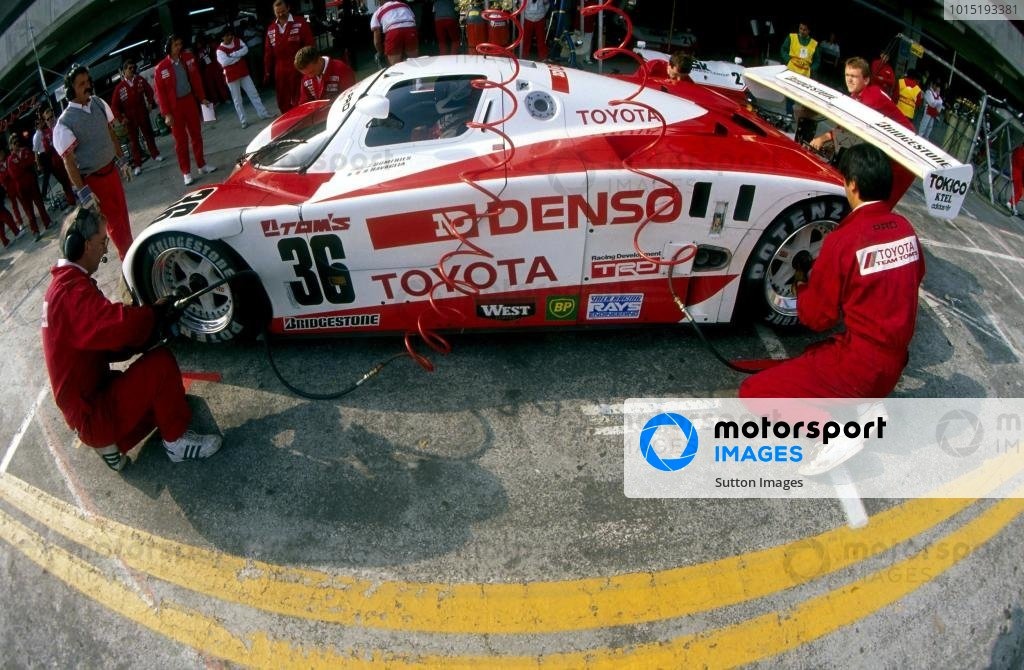 Johnny Dumfries (GBR) TOM'S Toyota 90 CV makes a pit stop.