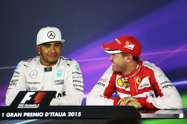 Autodromo Nazionale di Monza, Monza, Italy. Saturday 05 September 2015. Lewis Hamilton, Mercedes AMG, and Sebastian Vettel, Ferrari, in the post qualifying Press Conference. World Copyright: Jed Leicester/LAT Photographic. ref: Digital Image JL2_8739