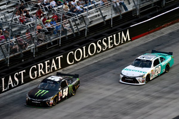 22 August, 2015, Bristol, Tennessee USA Kyle Busch, Monster Energy Toyota Camry and Denny Hamlin, Hisense Toyota Camry ? 2015, Nigel Kinrade LAT Photo USA