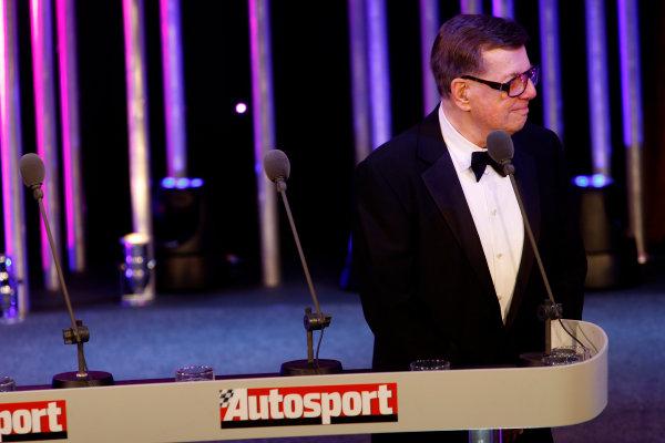 Grosvenor House Hotel, Park Lane, London 7th December 2008. Carl Haas accepts a Gregor Grant Award for Lifetime Achievement. Portrait.World Copyright: Glenn Dunbar/LAT Photographic ref: Digtal Image _O9T6810