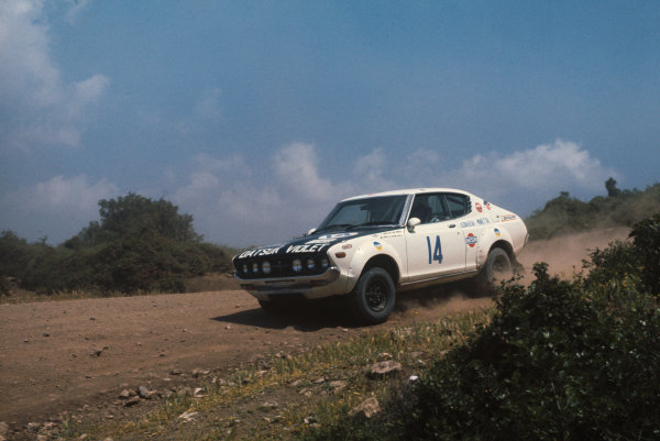 Acropolis Rally, Greece. 22-28 May 1976.Harry Kallstrom/Claes-Goran Andersson (Datsun Violet 160J), 1st position.World Copyright: LAT PhotographicRef: 35mm transparency 76RALLY09