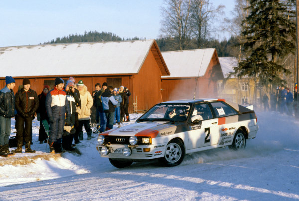 Swedish Rally, Sweden. 13-15 February 1981.Hannu Mikkola/Arne Hertz (Audi Quattro), 1st position, action. World Copyright: LAT PhotographicRef: 35mm transparency.