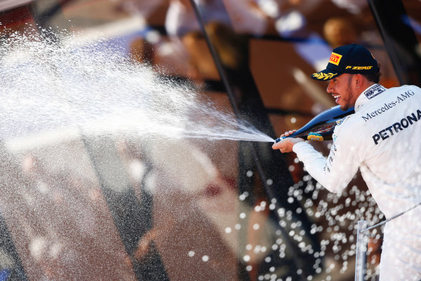 Circuit de Catalunya, Barcelona, Spain. Sunday 14 May 2017. Lewis Hamilton, Mercedes AMG, 1st Position, sprays the victory Champagne. World Copyright: Andy Hone/LAT Images ref: Digital Image _ONZ6732