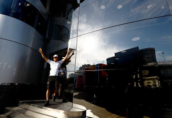 Hungaroring, Budapest, Hungary. Thursday 21 July 2016. Fernando Alonso, McLaren leaves the brand centre. World Copyright: Steven Tee/LAT Photographic ref: Digital Image _H7I0040