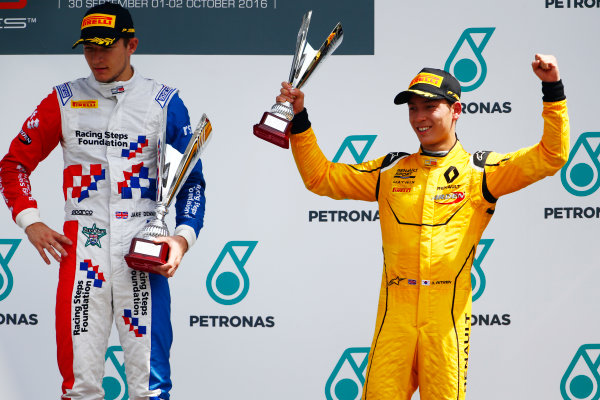 Jake Dennis (GBR, Arden International) and Jack Aitken (GBR, Arden International)  2016 GP3 Series Round 8 Sepang International Circuit, Sepang, Malaysia. Sunday 2 October 2016  Photo: Zak Mauger/GP3 Series Media Service ref: Digital Image _X0W9283