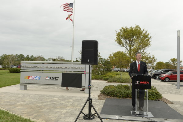 19-20 November, 2013, Daytona Beach, Florida Ed Bennett, CEO of the United Sportscar Championship speaks during the unveiling of the new IMSA sign at International Motorsports Center in Daytona Beach, FL @2013 Richard Dole LAT Photo USA