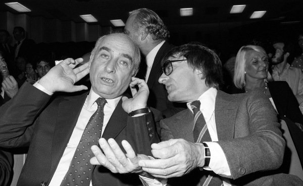 (L to R): Juan Manuel Fangio (ARG) and Bernie Ecclestone (GBR). Formula One World Championship, Italian Grand Prix, Rd13, Monza, Itay, 13 September 1981.