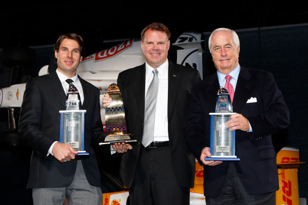 6 December, 2012, Indianapolis, Indiana, USA 2nd place and Mario Andretti road course award winner Will Power wth Jim Campbell of Chevrolet and Roger Penske.(c) 2012, Michael L. Levitt LAT Photo USA