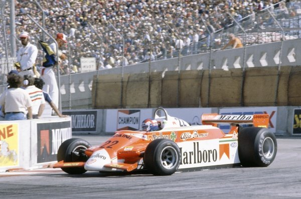 1980 United States Grand Prix West.Long Beach, California, USA. 28-30 March 1980.Patrick Depailler (Alfa Romeo 179B), retired.World Copyright: LAT PhotographicRef: 35mm transparency 80LB23