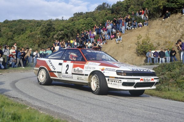 1991 World Rally Championship.Tour de Corse, Corsica, France. 28 April-1 May 1991.Carlos Sainz/Luis Moya (Toyota Celica GT-4), 1st position.World Copyright: LAT PhotographicRef: 35mm transparency 91RALLY15