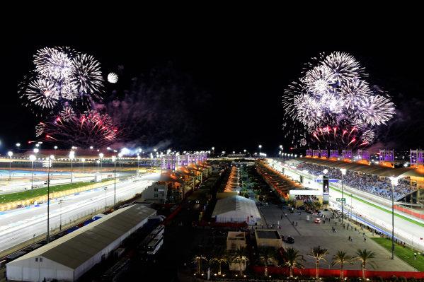 Fireworks at Formula One World Championship, Rd2, Bahrain Grand Prix Race, Bahrain International Circuit, Sakhir, Bahrain, Sunday 3 April 2016. BEST IMAGE