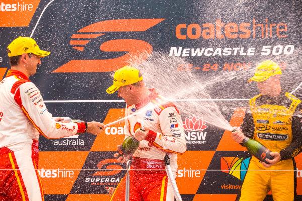Fabian Coulthard, DJR Team Penske Ford, Scott McLaughlin, DJR Team Penske Ford, Tim Slade, Brad Jones Racing Holden