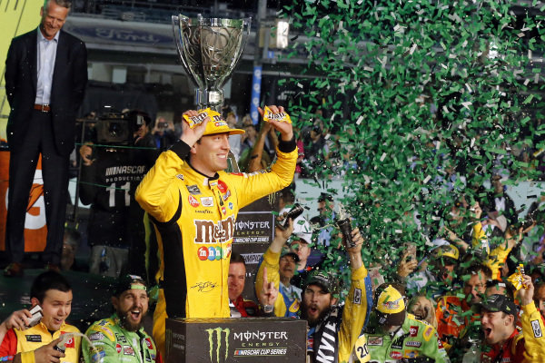 #18: Kyle Busch, Joe Gibbs Racing, Toyota Camry M&M's celebrates his race and championship wins in victory lane