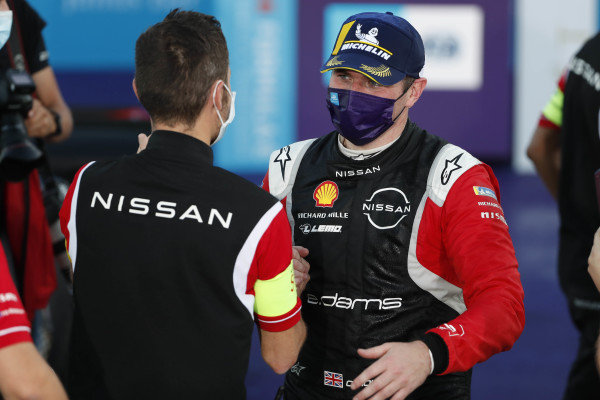 Oliver Rowland (GBR), Nissan e.Dams, Nissan IMO2, 1st position celebrates on the podium