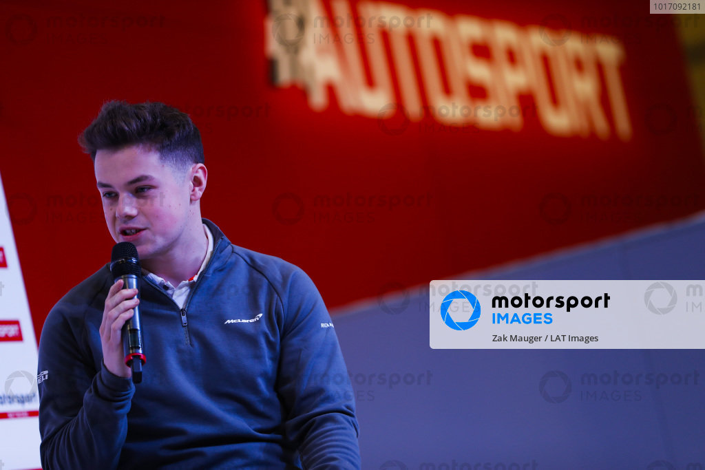 Michael O'Brien on the Autosport Stage.
