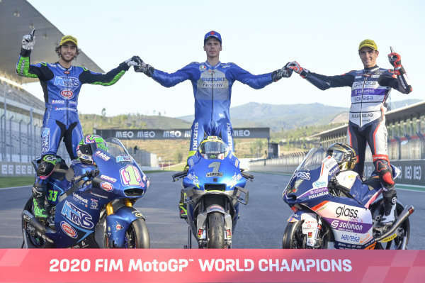 FIM MotoGP 2020 World Champions: Enea Bastianini, Italtrans Racing Team, Joan Mir, Team Suzuki MotoGP, Albert Arenas, Aspar Team
