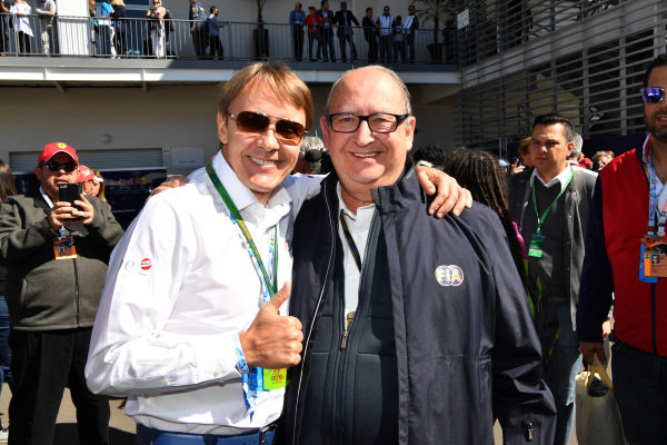 Adrian Fernandez (MEX) and Henry Krausz (Dominican Republic) President F.D.A.K and FIA World Motorsport Council Member at Formula One World Championship, Rd19, Mexican Grand Prix, Qualifying, Circuit Hermanos Rodriguez, Mexico City, Mexico, Saturday 29 October 2016.