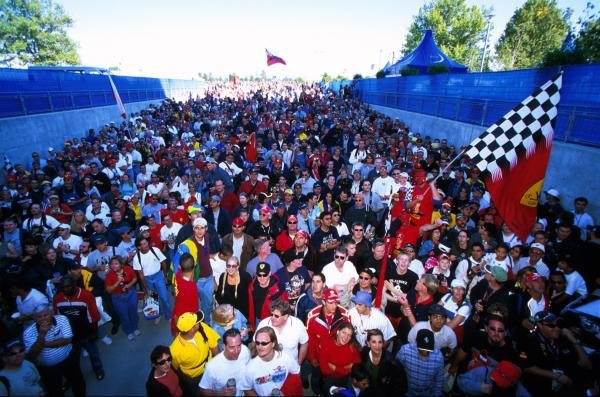 If you've not got a ticket you're not coming in. American Grand Prix, Indianapolis, USA, 30 September 2001.