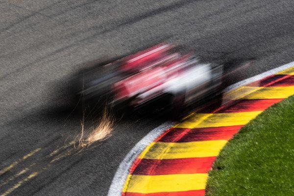 Kimi Raikkonen, Alfa Romeo Racing C38, kicks up sparks