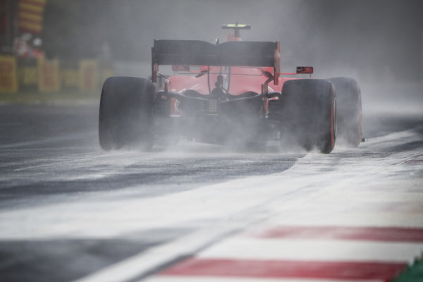 Charles Leclerc, Ferrari SF90, kicks up cement dust which was laid down to cover a heavy oil spill in the F2 race prior to the session