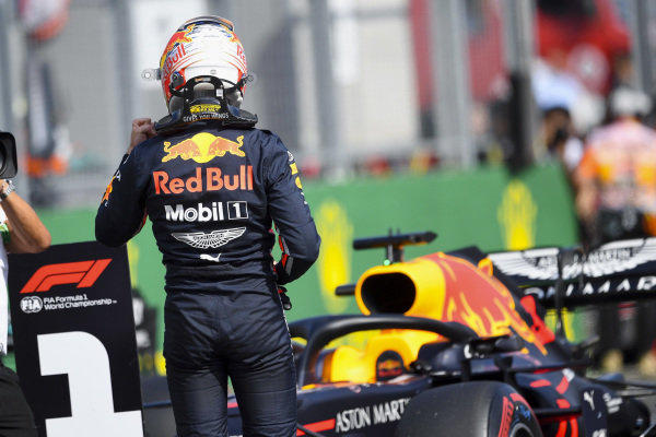 Max Verstappen, Red Bull Racing, celebrates after securing his first pole position in F1