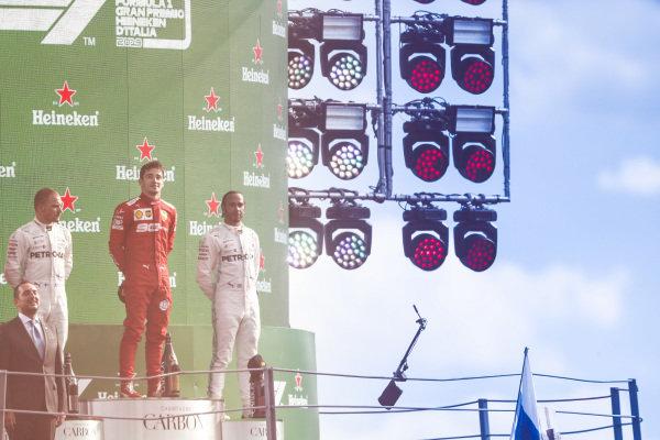 Valtteri Bottas, Mercedes AMG F1, Race winner Charles Leclerc, Ferrari and Lewis Hamilton, Mercedes AMG F1 on the podium