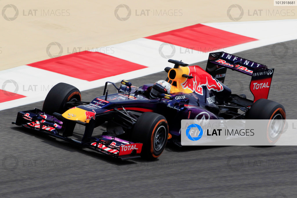 Bahrain International Circuit, Sakhir, Bahrain Friday 19th April 2013 Sebastian Vettel, Red Bull RB9 Renault.  World Copyright: Charles Coates/LAT Photographic ref: Digital Image _X5J2729