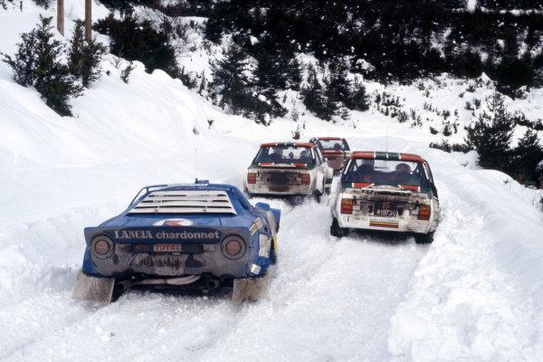 FIA World Rally Championship. Monte Carlo Rally.21st - 28th January 1978.Michele Mouton's Lancia Stratos follows Verini's Fiat at the Col de Perty.World Copyright:LAT PhotographicRef: 35mm Image