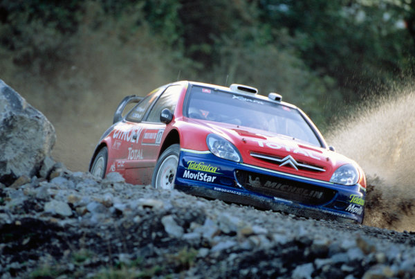 2003 World Rally ChampionshipRally of Great Britain, Wales. 6th - 9th November 2003.Colin McRae / Derek Ringer, Citroen Xsara. Water splash. action.World Copyright: Spinney/LATref: 35mm Image WRC_GB_07 jpg