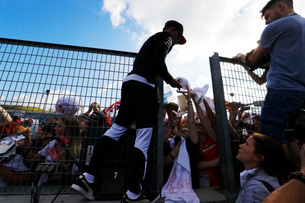 Hungaroring, Budapest, Hungary.  Thursday 27 July 2017. Lewis Hamilton, Mercedes AMG, signs autographs for fans. World Copyright: Steven Tee/LAT Images  ref: Digital Image _O3I5021