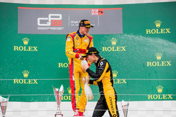 2017 GP3 Series Round 3.  Silverstone, Northamptonshire, UK. Sunday 16 July 2017. Giuliano Alesi (FRA, Trident), Jack Aitken (GBR, ART Grand Prix).  Photo: Zak Mauger/GP3 Series Media Service. ref: Digital Image _56I0272