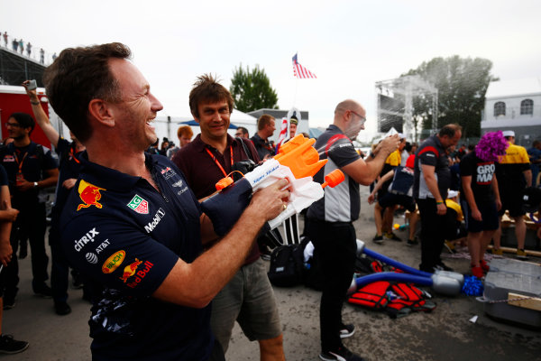 Circuit Gilles Villeneuve, Montreal, Canada. Saturday 10 June 2017. Christian Horner, Team Principal, Red Bull Racing, gets hold of a Super Soaker at the raft race. World Copyright: Andy Hone/LAT Images ref: Digital Image _ONZ4455