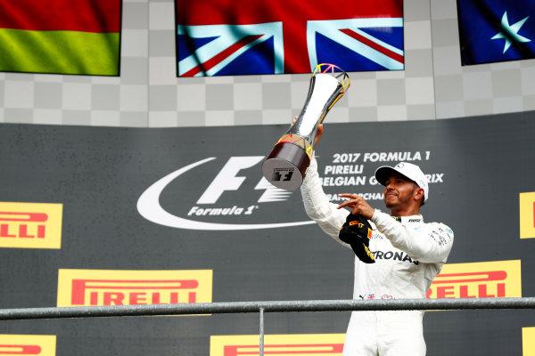 Spa Francorchamps, Belgium.  Sunday 27 August 2017. Lewis Hamilton, Mercedes AMG, celebrates victory on the podium. World Copyright: Sam Bloxham/LAT Images  ref: Digital Image _J6I0304
