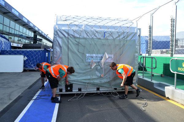 Mercedes AMG F1 freight. Formula One World Championship, Rd1, Australian Grand Prix, Preparations, Albert Park, Melbourne, Australia, Monday 11 March 2013.
