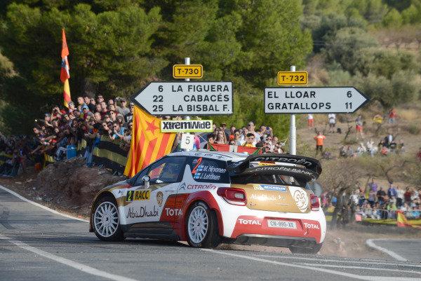Mikko Hirvonen (FIN) and Jarmo Lehtinen (FIN), Citroen DS3 WRC on stage 5. FIA World Rally Championship, Rd12, Rally de Espana, Catalunya, Costa Daurada, Spain. Day Two, Saturday 26 October 2013.