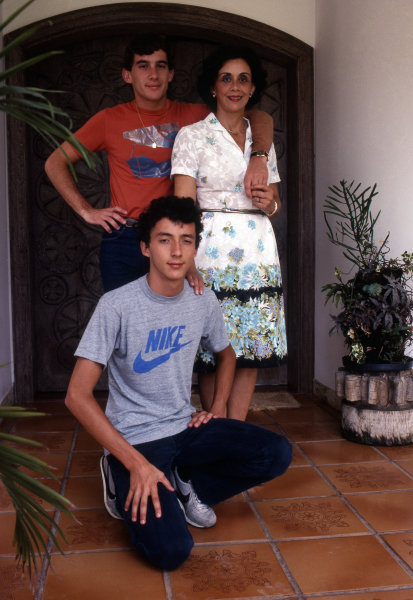 Ayrton Senna relaxing at home in Sao Paulo, Brazil, with his mother and brother, in 1984. Formula One Drivers At Home