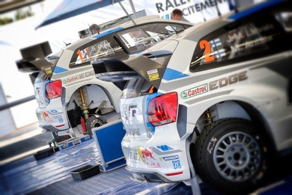 Volkswagen Polo R WRC service area. FIA World Rally Championship, Rd5, Rally Argentina, Preparations and Shakedown, Cordoba-Villa Carlos Paz, Argentina, 8 May 2014.