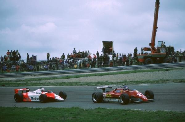 Patrick Tambay(FRA) Ferrari 126C2 leads Niki Lauda Dutch GP, Zandvoort,  3 July 1982