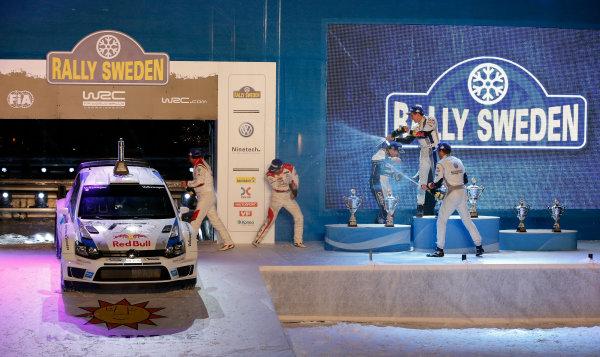 2013 World Rally Championship Swedish Rally 7th - 10th February 2013 Sebastien Ogier, Julien Ingrassia, Sebastien Loeb, Mads Ostberg,VW, podium Worldwide Copyright: McKlein/LAT