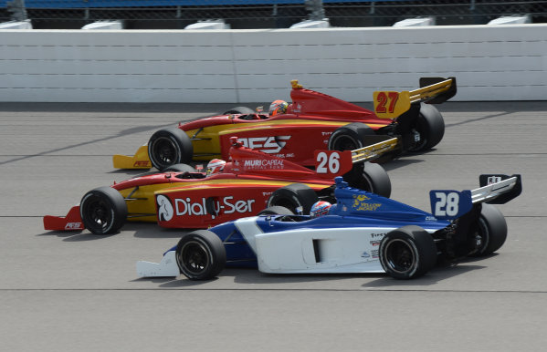 22-23 June, 2012, Newton, Iowa USA#28 Anders Krohn with #26 Carlos Munoz and #27 Sebastian Saavedra(c)2012, Dan R. Boyd LAT Photo USA