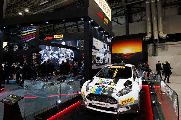 Autosport International Exhibition. National Exhibition Centre, Birmingham, UK. Sunday 14th January 2018. The Pirelli stand.World Copyright: Ashleigh Hartwell/LAT Images Ref: _O3I9603