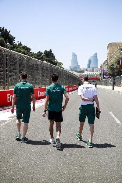 Lance Stroll, Aston Martin walks the track