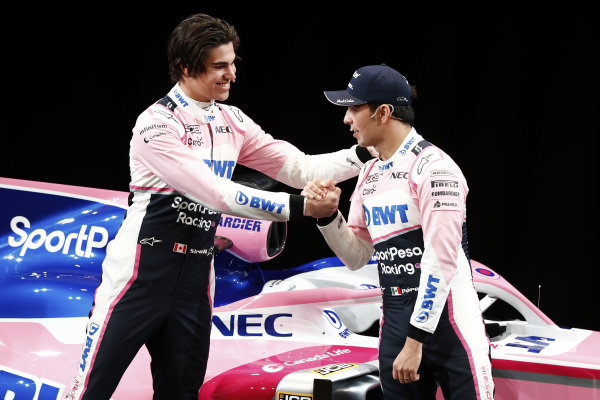 Lance Stroll, SportPesa Racing Point F1 Team and Sergio Perez, SportPesa Racing Point F1 Team with the new SportPesa Racing Point F1 Team RP19 during the SportPesa Racing Point F1 Team Launch in Toronto