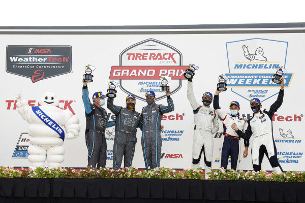#18 Era Motorsport ORECA LMP2 07, LMP2: Kyle Tilley, Dwight Merriman, Colin Braun, #52 PR1 Mathiasen Motorsports ORECA LMP2 07, LMP2: Patrick Kelly, Simon Trummer, Scott Huffaker, podium
