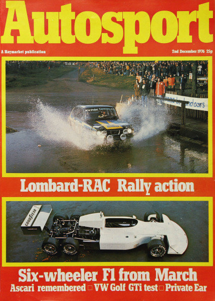 Cover of Autosport magazine, 2nd December 1976