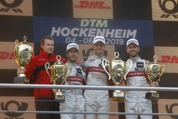 Podium: Race winner Nico Müller, Audi Sport Team Abt Sportsline, second place Mike Rockenfeller, Audi Sport Team Phoenix, third place René Rast, Audi Sport Team Rosberg.