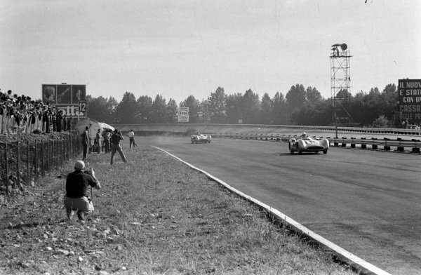 Stirling Moss, Mercedes W196, leads Juan Manuel Fangio, Mercedes W196.