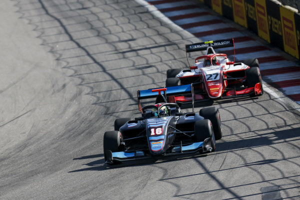 SOCHI AUTODROM, RUSSIAN FEDERATION - SEPTEMBER 29: Andreas Estner (DEU, Jenzer Motorsport) and Jehan Daruvala (IND, PREMA Racing) during the Sochi at Sochi Autodrom on September 29, 2019 in Sochi Autodrom, Russian Federation. (Photo by Joe Portlock / LAT Images / FIA F3 Championship)