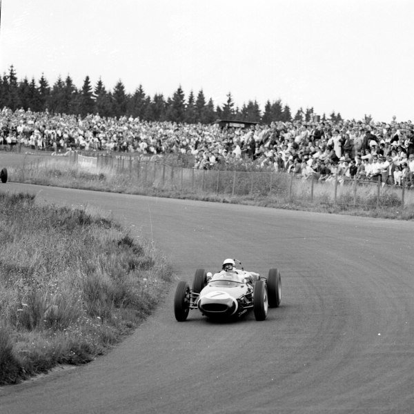1961 German Grand Prix, Nurburgring, Germany.Stirling Moss (Lotus 18-Climax), 1st position.Ref-9799.World - LAT Photographic
