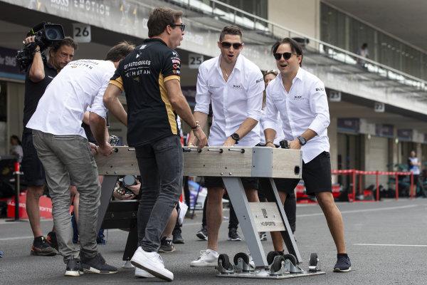 Jean-Eric Vergne (FRA), DS Techeetah and Antonio Felix da Costa (PRT), DS Techeetah play table football against Edoardo Mortara (CHE) Venturi and Felipe Massa (BRA), Venturi